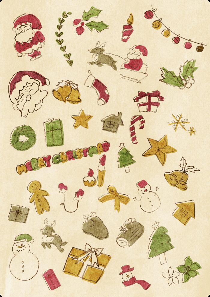 クリスマスイラストセット カラーVer.
