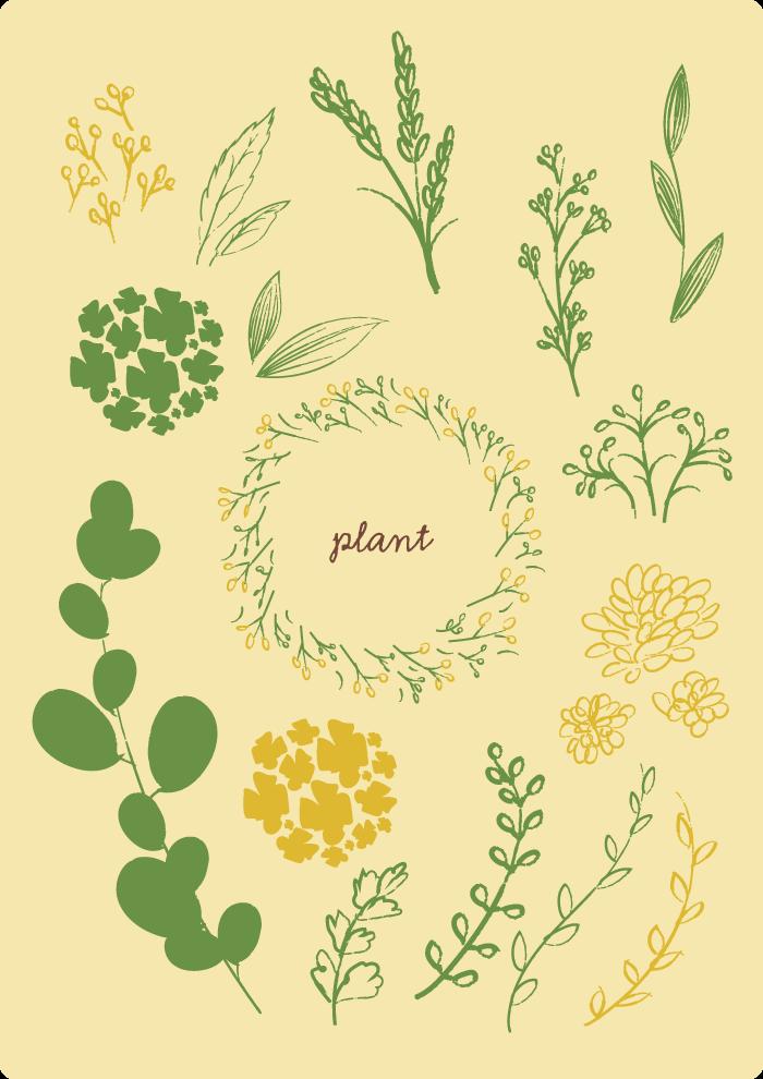 手書き植物セット1